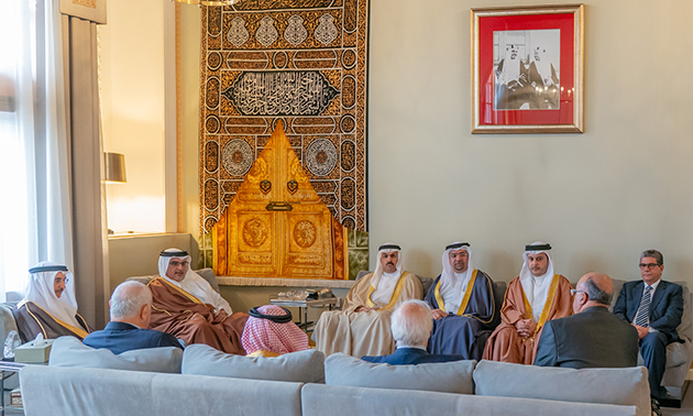 Deputy King receives HE the Chairman of Bahrain Red Crescent Society, along with members of the board of directors