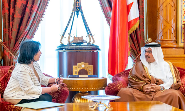 HRH the Crown Prince receives the President of the Bahrain Authority for Culture and Antiquities